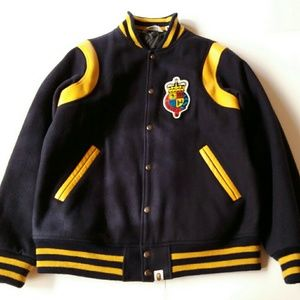 Bape College Ape Crest Leather Trim Varsity Jacket